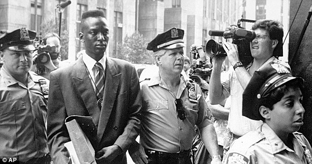 Accused rapist Yusef Salaam is seen here being escorted by  police in New York in 1990. Salaam was one of the subjects of the documentary, 'The Central Park Five.' The men's convictions were overturned in 2002 and filed a civil lawsuit against New York City in 2003