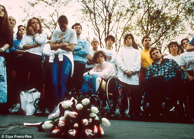 Flowers were laid at the site of Patricia Meili's 1989 beating and sexual assault in Central Park