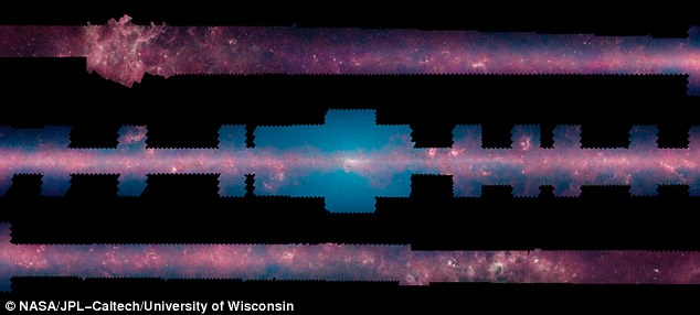 A panorama from Nasa's Spitzer Space Telescope shows us our galaxy's plane all the way around us in infrared light. The 360-degree mosaic consists of more than 2 million snapshots taken in infrared light over 10 years, beginning in 2003 when Spitzer launched