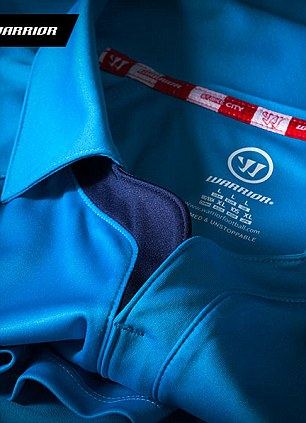 All change: Stoke's blue away shirt has a distinctive collar