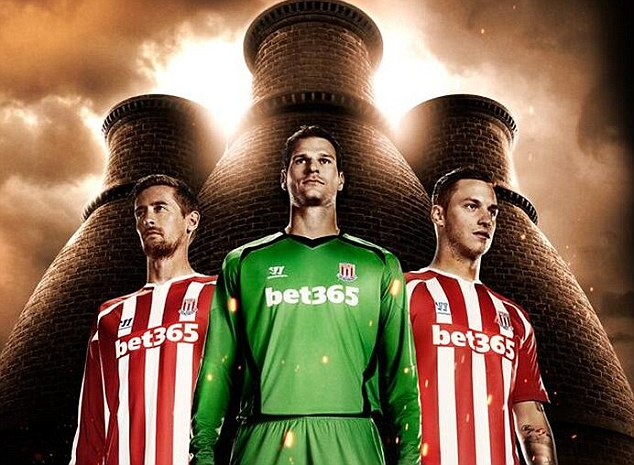 New kit: Peter Crouch, Asmir Begovic and Marko Arnautovic have revealed Stoke's new home strip for next season