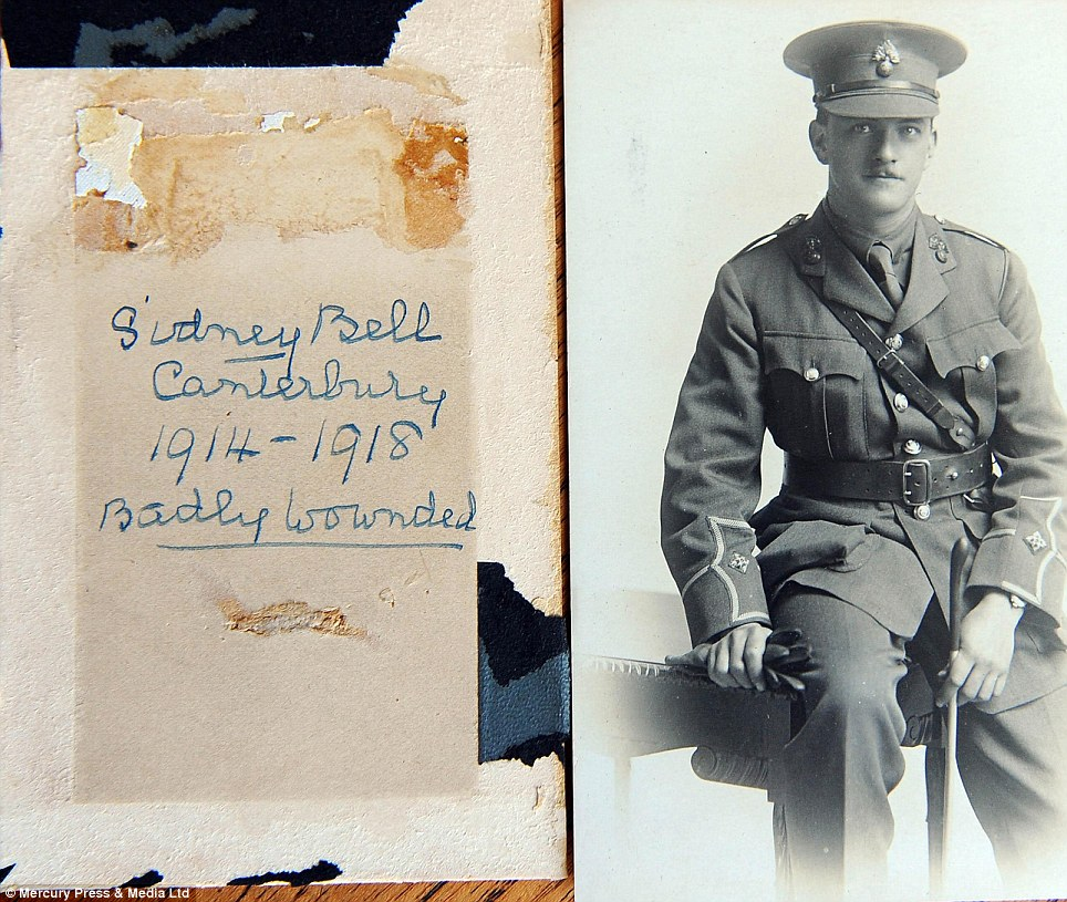 Victims of war: This picture was found of Sidney Bell, from Canterbury in Kent, who was 'badly wounded' in the war but apparently survived the conflict