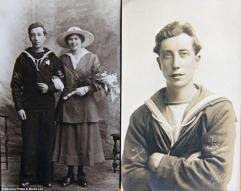 Couple: A young seaman pictured arm in arm with his sweetheart (left) and proudly showing off his three years good conduct stripe (right)