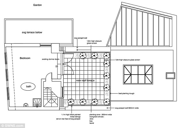 Time for change? The proposed plan of the second floor at Sean Bean's £4million property in Belsize Park