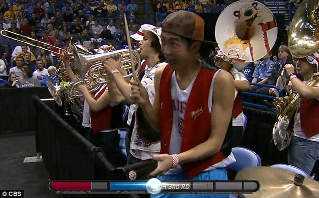His demented cowbell hammering certainly caught the eye of the TV cameras on more than one occasion, and left many on social media sites to wonder if perhaps he might have been under the influence of something
