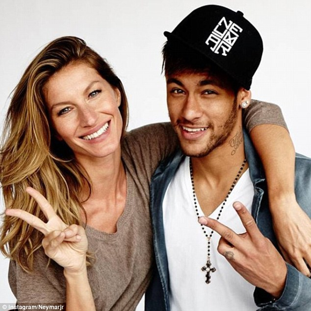 All smiles: Barcelona forward poses with Brazilian model Gisele Bundchen in a picture posted on Instagram