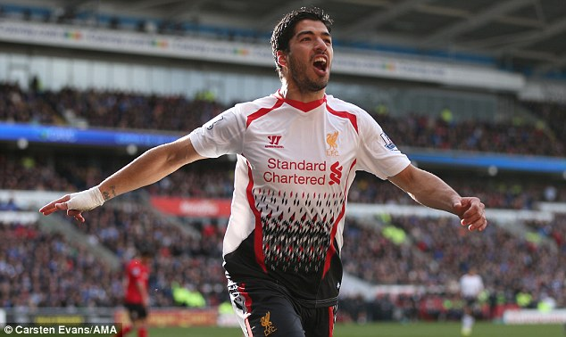 Star man: Luis Suarez has been the standout player for Liverpool this season, scoring 27 goals in the league