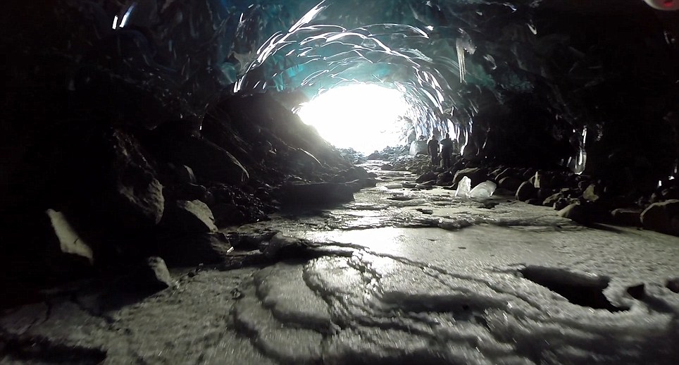 The team were able to fly the drone inside massive ice caves in Alaska