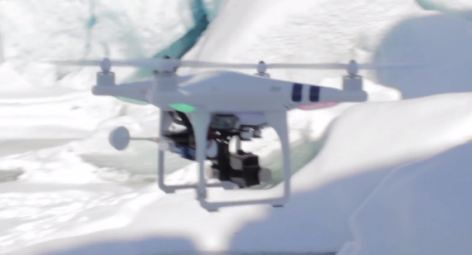 The team used a commercially available drone called a DJI Phantom and a GoPro HERO3+ Black Edition to capture the footage
