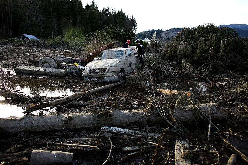 Devastation: Search and rescue personnel continue working the area of Saturday's mudslide, at Oso, Washington