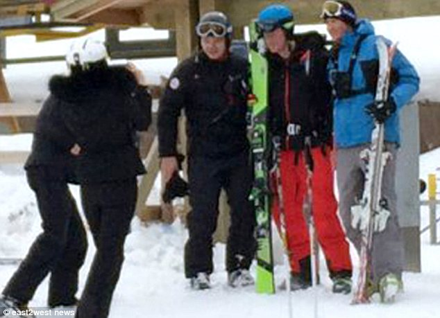 Pose: Harry was happy to take photographs with members of the public while skiing