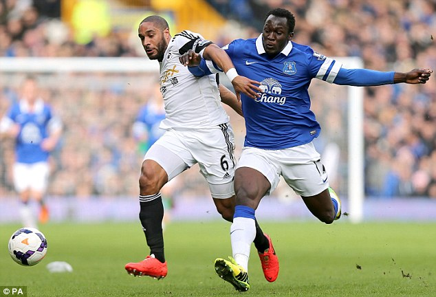 Surplus: Romelu Lukaku (right), on loan at Everton, is set to be made available for transfer this summer