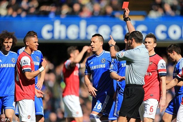 Error: Referee Andre Marriner (third right) mistakenly sends off Arsenal's Kieran Gibbs (second left)