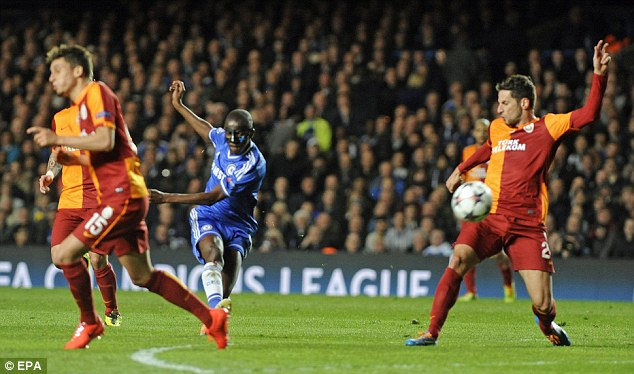 Man in the mask: Ramires has a shot during the Champions League win over Galatasaray
