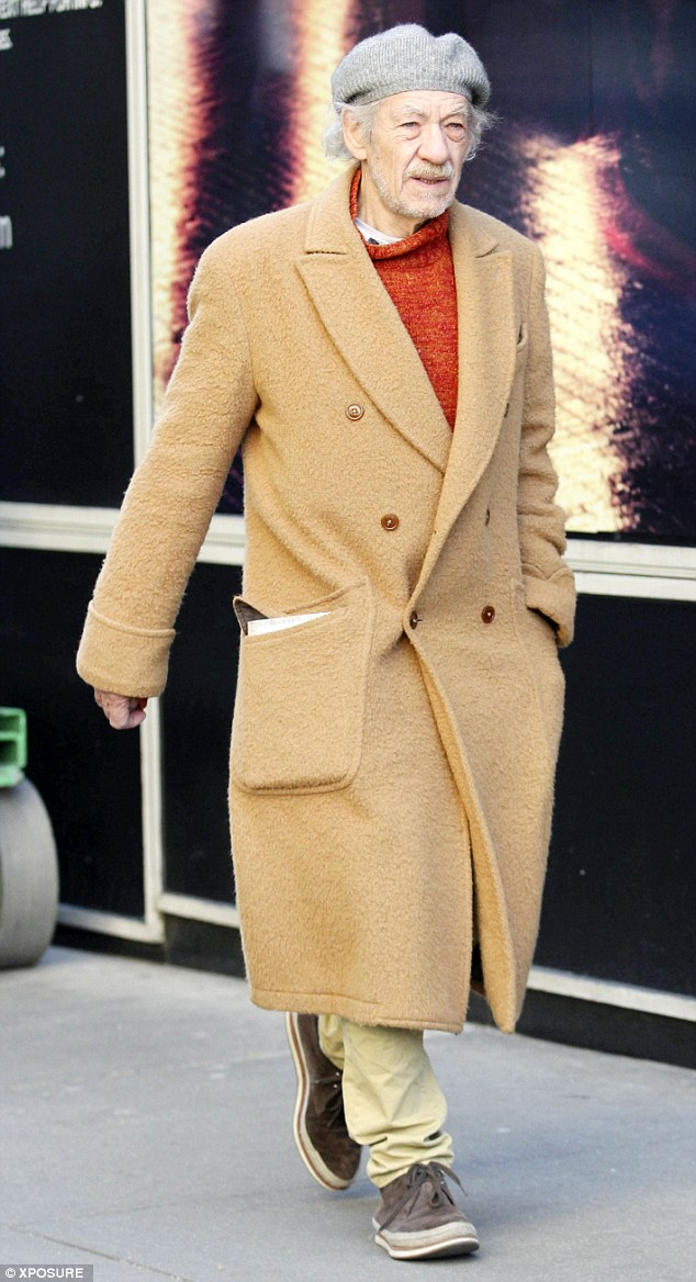 Vintage rebellion: Sir Ian McKellen is a ever a beatnik thespian in a camel-coloured overcoat, orange roll-neck jumper and knitted beret