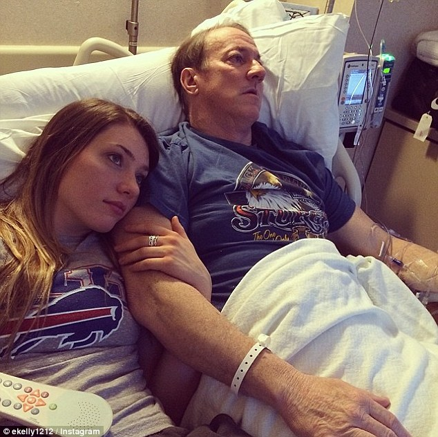 Surgery: Hall of Fame quarterback Jim Kelly, shown here in a picture tweeted by his daughter Erin, left