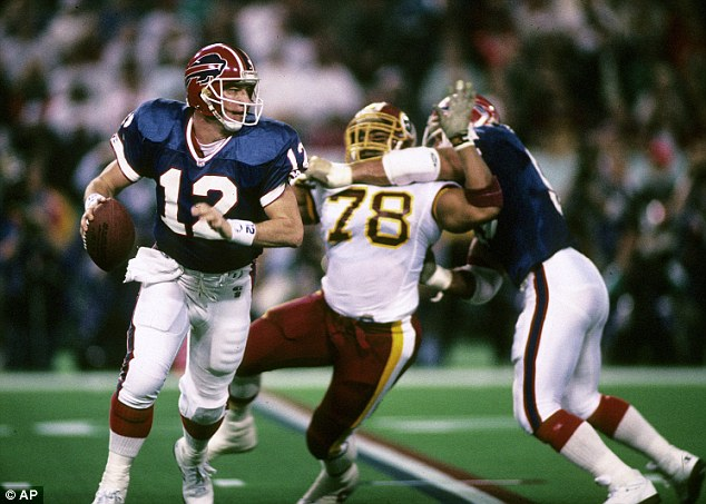 Buffalo: Kelly, shown left at 1992's Super Bowl, spent 11 seasons with the Bills before retiring following the 1996 season. He has since made Buffalo his home