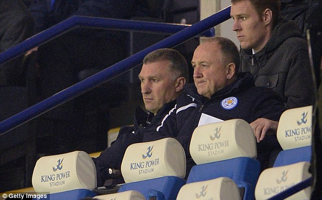 Back in action: Leicester boss Nigel Pearson was in the stands after being admitted to hospital at the weekend