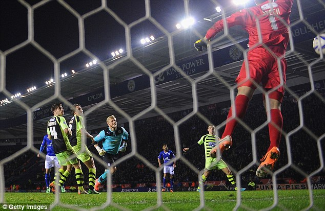 Heart-stopping: Time stands still as Schmeichel's header crashes in off the crossbar