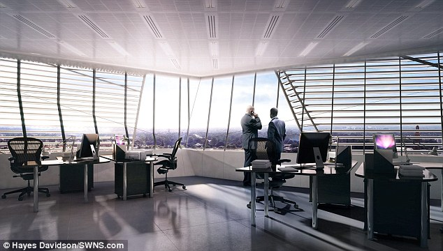 Looking out: The four giant screens will be seen each day by some 1million people passing the building