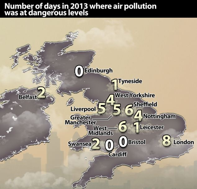 The latest figures from the Government's Department for Food, Environment and Rural Affairs, reveal Greater London as the worst area in the country for air pollution