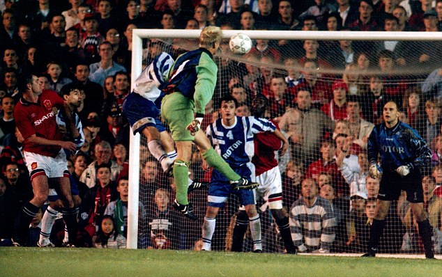 Like father like son: Peter Schmeichel scores in the UEFA Cup for Manchester United in 1995