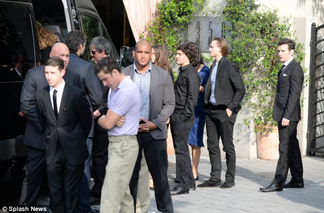 The Jagger family leave the reception for the fashion designer, which was held at Sunset Tower Hotel, in Hollywood
