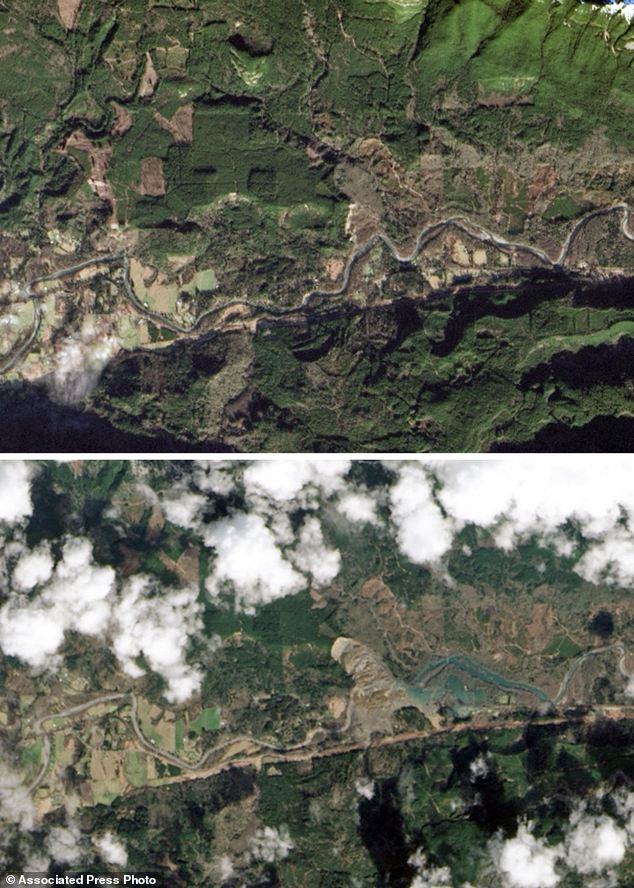 Before and after: This combination of images provided by NASA shows the Oso area on Jan. 18 (top) and March 23 (bottom) following the landslide. An area north of the river can be seen entirely collapsed