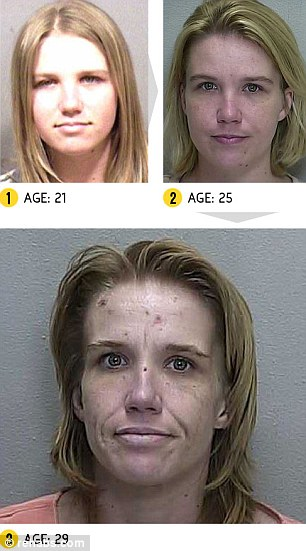 There is a noticeable difference in Cynthia's mugshots at the age of 21 and 25 (top left and right) and a later mugshot taken when she was 29 (bottom)