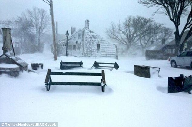 Snowed in: A square in the town of Sconset, which is largely made up of beach houses, shows the depth of snow