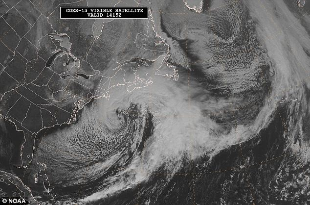 View from above: The storm is believed to have picked up much of its strength from the winds over the ocean