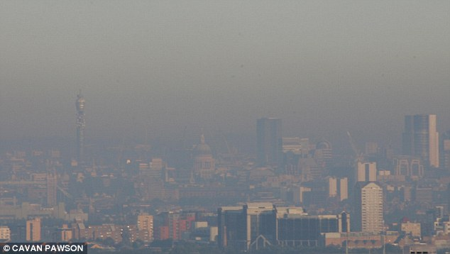 There were at least eight days last year when air quality levels in Greater London, pictured, were marked in the 'high' category, which is deemed unhealthy and could cause eye and throat irritation to anyone exposed