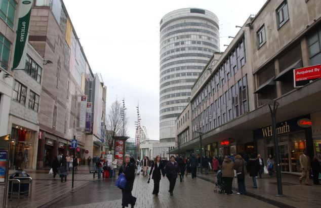Birmingham, pictured, and the West Midlands had at least one day last year when air pollution levels were rated 10 and reached the 'very high' category - the highest possible