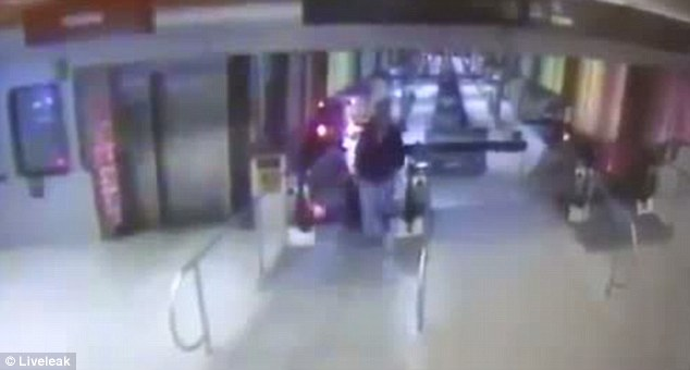 This video grab shows the scene moments before a train derailed and barreled up an stairway