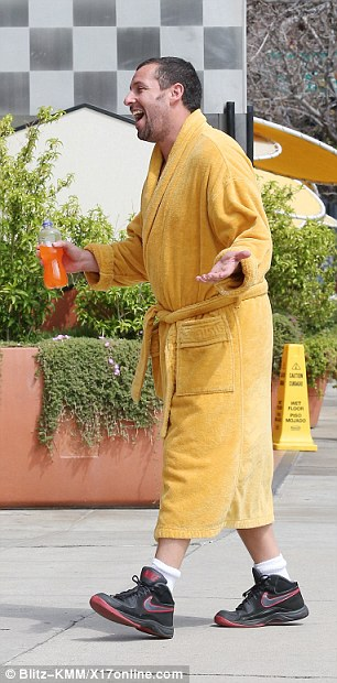 Loud character: The popular comedic acting was seen playing out several outlandish scenes while he held on to a bottle full of a bright orange liquid