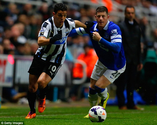 Gusto: Barkley attempts to stop flying Newcastle winger Hatem Ben Arfa in Everton's win on Tuesday