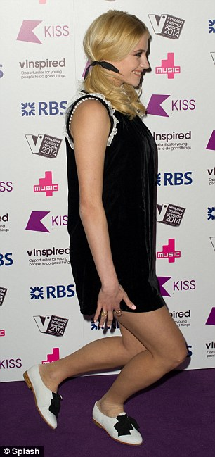 Welcome to the ministry of silly walks: Pixie larks around at the Indigo2 Arena in London, venue for the vInspired Awards