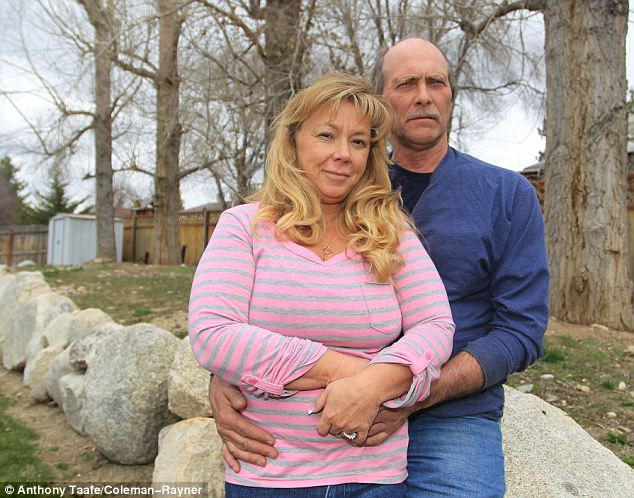 'She has been away from home for so long, this is her place, not in some strange cemetery in Los Angeles. It has no connection,' said Shane (pictured left with her husband Rob at their Utah home)