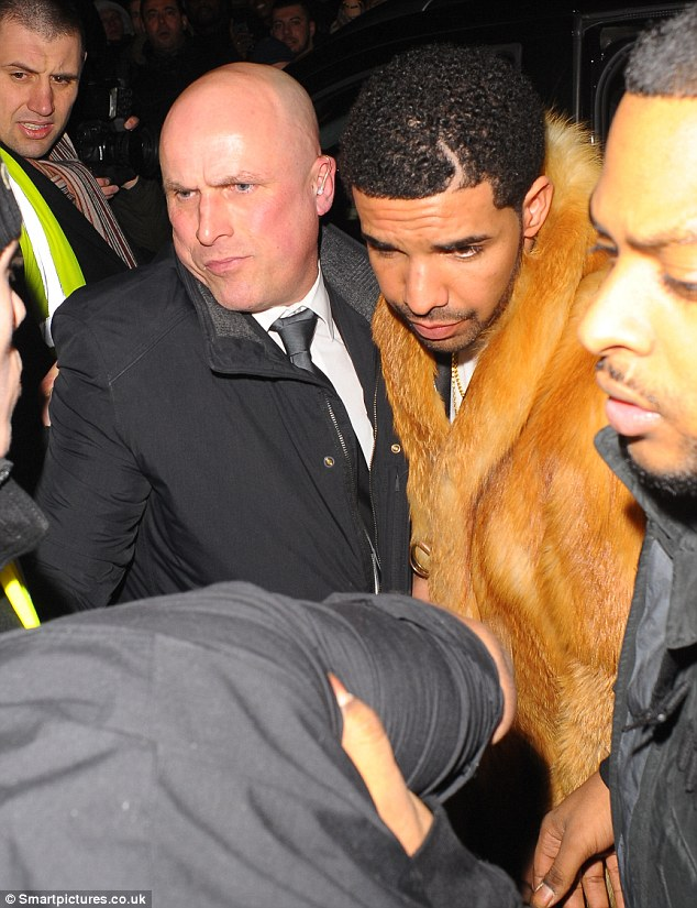 Help needed: Police had to step in after Drake's afterparty got a little out of hand when he attempted to leave a London nightclub on Wednesday
