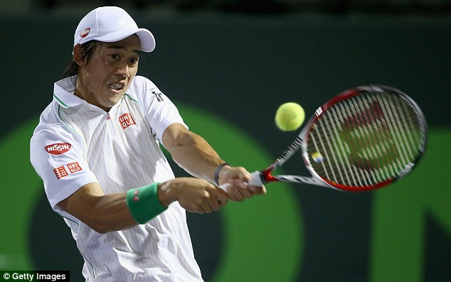 Big win: World No 21 Nishikori fought back from a set down to upset Federer in Miami