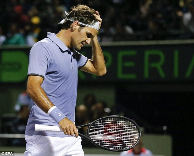 Shock: Roger Federer was knocked out of the Sony Open quarter-finals by Kei Nishikori