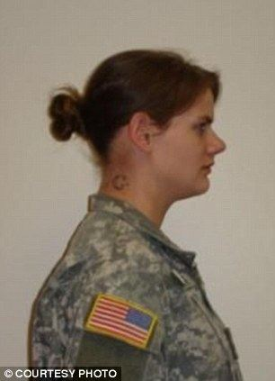 Expectant mother: Sgt. Deidre Aguigui, 24 (pictured left and right in 2011) was seven months pregnant when she was found dead July 17, 2011, with abrasions on her wrists in her bedroom strewn with sex toy