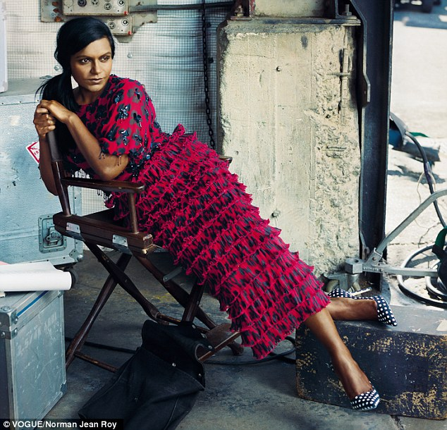Dressed in a tight-fitting Dries Van Noten blouse and voluminous skirt, Mindy Kaling shows off her curves with nothing but confidence in Vogue's new Shape issue