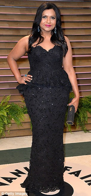For red carpet appearances, Ms Kaling, who has earned six Emmy nominations, favors figure flattering designers like Roland Mouret and Antonio Berardi as well as her show's costume designer Salvador Perez