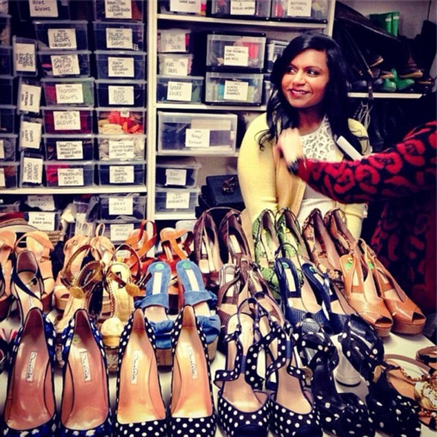 Ms Kaling stopped by the Vogue closet for a fitting before her shoot for the new shape issue