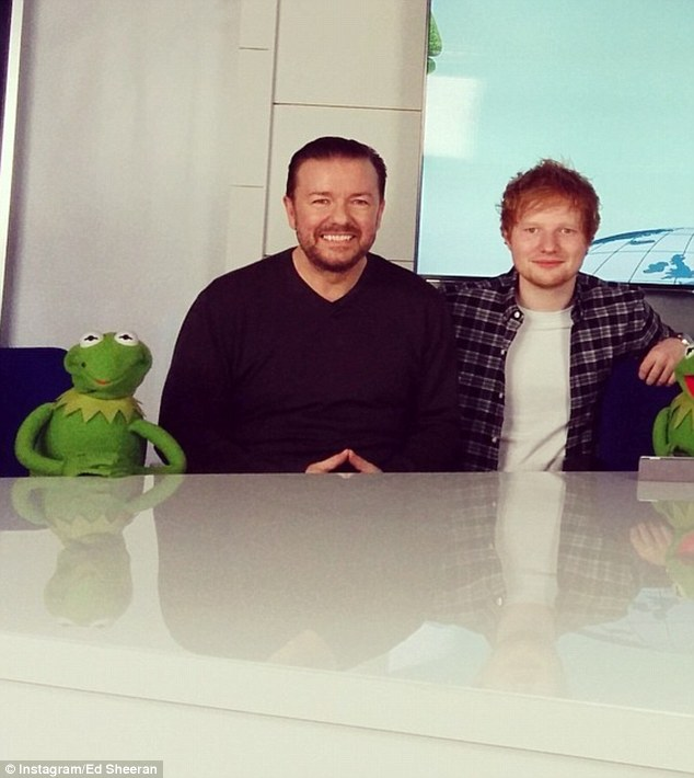 Hanging out with the Muppets: Ed Sheeran took to his Instagram account to post a picture of himself with Ricky, Constantine and Kermit