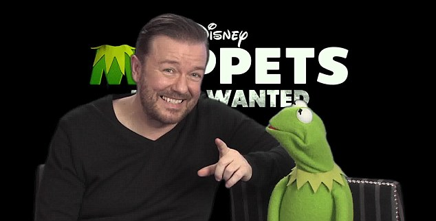 Hello: Ricky Gervais and Constantine the evil Russian frog introduce an exclusive Muppets Most Wanted clip to MailOnline readers