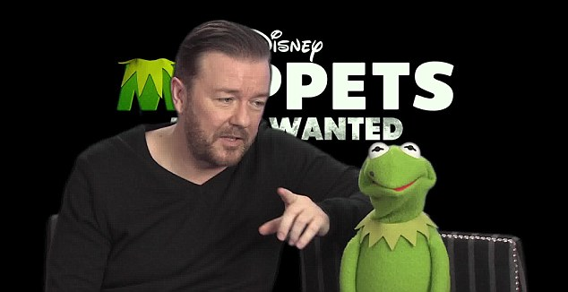 'Just be nice to them': Earlier in the footage, Ricky introduces the clip to MailOnline readers and explains to the mischievous frog all about the website but the character jokes: 'Not through the postal system?