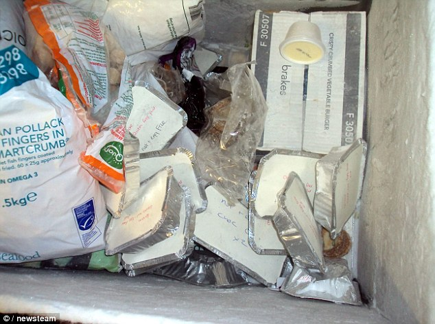 Mess: The inside of a freezer at Food 4 Thought GB, a firm that provides food for schoolchildren. It has been fined more than £18,000 because of the shocking level of hygeine