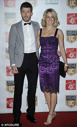 Coupled up: Phil Jones and girlfriend Kaya Hall (left) and Michael Carrick and his wife Lisa